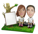 Custom Artistic Couple On Park Bench Bobblehead