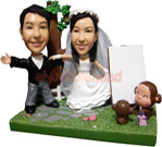 Custom Wedding Bobblehead with Monkey
