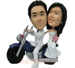 Custom Wedding Couple On Motorcycle Bobblehead