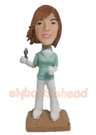 Custom Female Dentist Bobble Head Doll