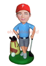 Custom Golfer With Bag & Clubs Bobblehead