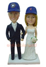 Custom Wedding Couple with Baseball Hats Bobblehead