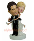 Custom Football Lover Wedding Bobbleheads