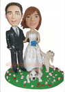 Custom Wedding Couple With Two Pets