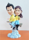 Custom Couple On The Broomstick Bobblehead Doll