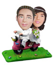 Custom Wedding Couple On Scooter Bobblehead 2