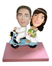 Custom Wedding Couple On Scooter Bobblehead 1