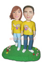 Custom Couple Walk On The Grassplot Bobblehead