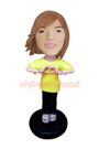 Custom Sweet Heart Girl Bobble head Doll