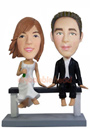 Custom Wedding Couple Bobbleheads Sitting on Bench